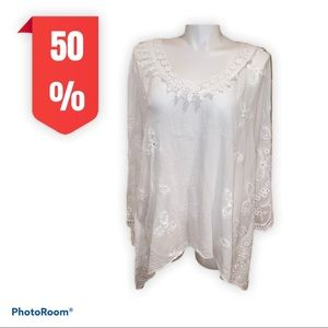 Pink white boho cover up